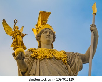 Sculpture of Pallas Athena, the Greek goddess of wisdom outside the Austrian Parliament Building in Vienna, Austria. The sculpture was erected about 1893.