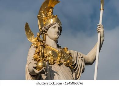 Sculpture of Pallas Athena, the Greek goddess of wisdom outside the Austrian Parliament Building in Vienna, Austria