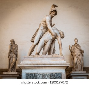 The sculpture Patroclus and Menelaus is located in Florence, at the center of the Loggia dei Lanzi, Piazza della Signoria. Greek statue of the 4th century BC, found in the Forum of Trajan in Rome.