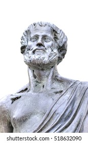 Sculpture of the philosopher Aristotle. Isolated on white background