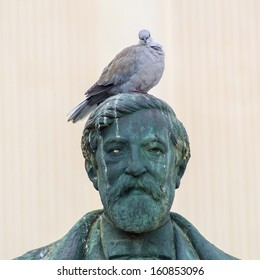 sculpture and pigeon