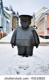 Sculpture of a policeman named Toripolliisi on the market square of Oulu, Finland