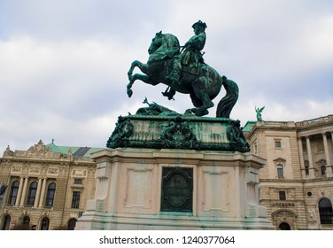 Sculpture of Prince Eugene of Savoy installed around the 1850s outside   the 13th cent. Hofburg Palace in Vienna, Austria. He was a general of the Imperial Army and statesman of the Holy Roman Empire