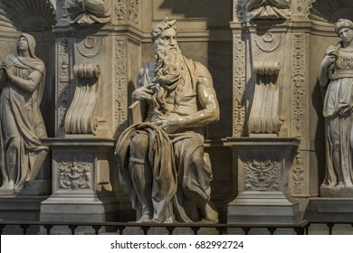 Sculpture of the prophet Moses, made by the famous artist Michelangelo in the church of San Pietro in Vincoli in Rome. Rome, Italy, June 2017