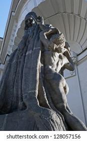 Sculpture of Rabbi Yehuda Loew at New City Hall in Prague
