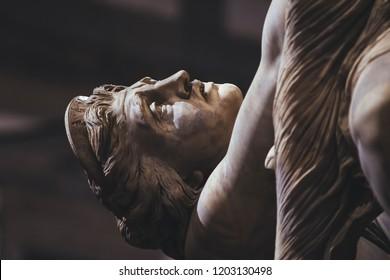 The sculpture the Rape of Polissena by the sculptor Pio Fedi 1865, is located in Florence, at the center of the Loggia dei Lanzi, Piazza della Signoria.