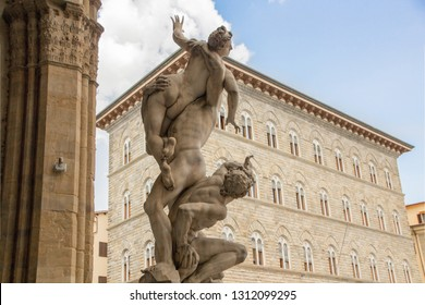 Sculpture The Rape of the Sabine Women, made by sculptor Giambologna (1574–82). Loggia dei Lanzi on the Piazza della Signoria in Florence, Italy.