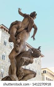 Sculpture The Rape of the Sabine Women.Loggia dei Lanzi on the Piazza della Signoria in Florence, Italy.