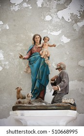 Sculpture of Saint Mary in old church, Italy, Europe