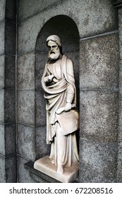 Sculpture of Saint on John Anderson's gorgeous mausoleum at Green-Wood Cemetery, Brooklyn, New York, April 2017