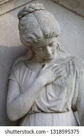 sculpture of sorrow at municipal cemetery in Amsterdam, The Netherlands