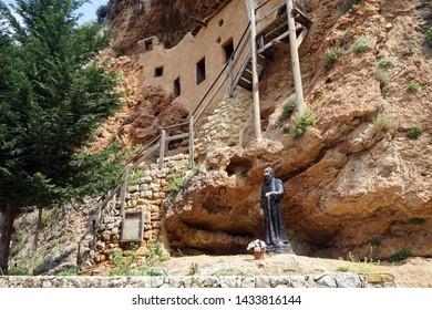Sculpture in St. Antoine monastery in Kadisha valley, Lebanon