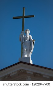 Sculpture of St Helena on the pediment of Vilnius Cathedral, Vilnius, Lithuania