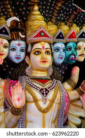 The sculpture and statues of Kali and more god, The hindu god.