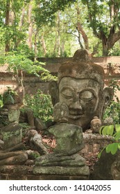 Sculpture of Stone Buddha in Wat U-mong (U-mong temple), an ancient temple  in Chiang Mai, Thailand.
