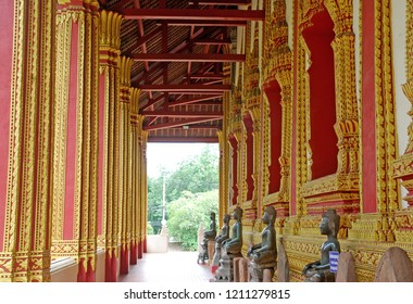 Sculpture of Temple wall at Hor Phakeo Museum Vientiane Laos