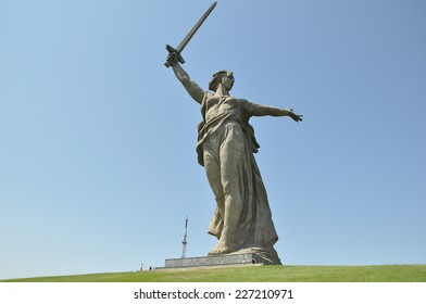 "Sculpture ""the Motherland calls!"" was photographed in Volgograd on July 27, 2011. Volgograd, Russia."