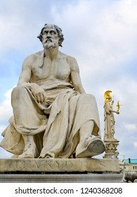 Sculpture of Thucydides in Vienna. These sculptures were installed in the 1890s. Thucydides was an Athenian historian and general dubbed as father of scientific history and school of political realism