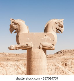 The sculpture of Two- Griffin statue in an ancient city - Persepolis,Shiraz-Iran.