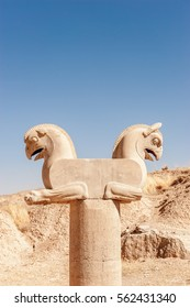 The sculpture of Two- Griffin statue in an ancient city - Persepolis Iran.