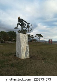 """Sculpture of Ulysses, hero of Homer's epic poem """"the Odyssey"""", king of Ithaca, facing the Mediterranean sea. Menton (Provence, France). December 7, 2018"""