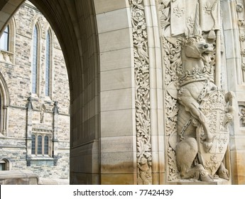 A sculpture of a unicorn holding the shield of Canada at the entrance of the Parliament buildings in Ottawa.