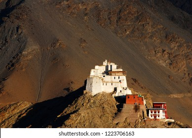 Sculpture View of Namgyal Tsemo Monastery or Gompa is a Buddhist monastery on a hilltop mountain at Leh Ladakh , Jammu and Kashmir , India