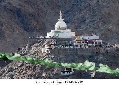 Sculpture View of shanti stupa is a Buddhist white-domed stupa on a hilltop in Chanspa mountain from leh palace at Leh Ladakh , Jammu and Kashmir , India