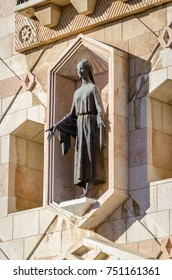 Sculpture of the Virgin Mary in Basilica of the Annunciation in Nazareth, Israel