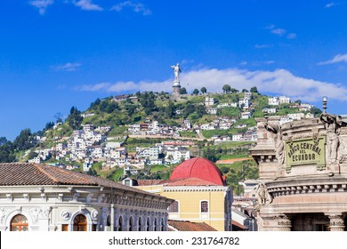 Sculpture of the Virgin in Panecillo hill Quito Ecuador South America