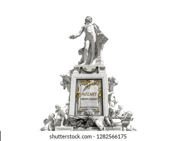 Sculpture of Wolfgang Amadeus Mozart is isolated on white background. Monument was created by sculptor Viktor Tilgner in 1896 and now is in public domain in Burggarten park in Vienna.