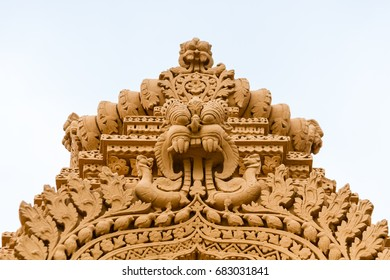 A sculpture of a yali,  a mythical Hindu creature at the temple of Srikantheswara in Nanjangud, South India.