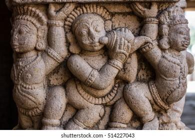 Sculptured columns at the Ranganatha Temple at Srirangam in Tiruchirapalli, Tamil Nadu