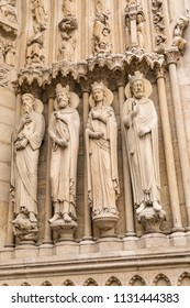 Sculptured Doors and Architecture of Famous Notre Dame Cathedral in Paris France
