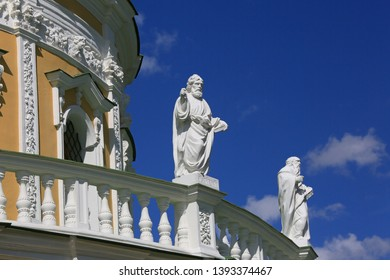 The sculptures of the apostles adorn the facade of the Church of the Nativity of the Blessed Virgin in Podmoklovo, Moscow region, Russia.