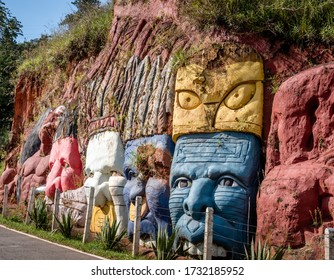 sculptures bas relief depicting the Inca and Indian indigenous lifestyle in the mountain of Cali, Colombia