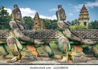 sculptures in a buddhist temple in cambodia