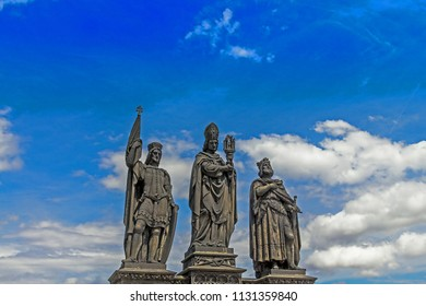 Sculptures Charles Bridge. Statues of three figures - Saint Norbert, St. Vaclav and St. Sigismund. Prague Czech Republic