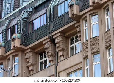 Sculptures and decorative elements of the Modern, Art Nouveau and Art Deco styles buildings in Central Prague, Czech Republic