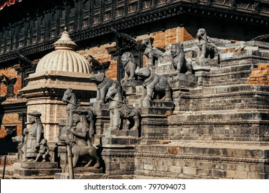 sculptures at the entrance in the old city of Bhaktapur. Nepal
