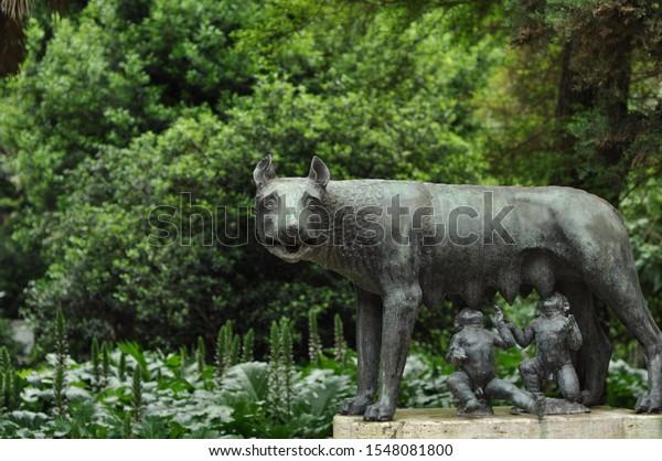 Sculptures Garden Roman Shewolf Stock Photo Edit Now 1548081800