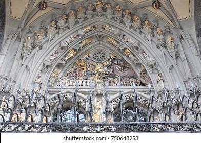 The sculptures of the Last Judgement at the main entrance of Bern Minster, Switzerland