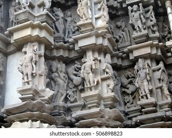 Sculptures of loving couples, illustrating the Kama Sutra, on walls of Varaha Temple ,Khajuraho in India, Asia