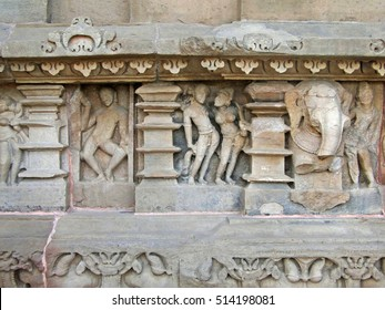 Sculptures of loving couples, illustrating the Kama Sutra, on walls of  Varaha Temple, Khajuraho in  India, Asia