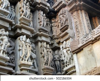 Sculptures of loving couples, mythical figures on outer walls of  Duladeo Shiva Temple Khajuraho,  India