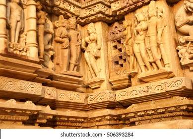 Sculptures of loving couples, mythical figures on outer walls of  Parsavanatha, Jain Temple Khajuraho,  India