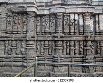 Sculptures of loving couples, mythical figures on outer walls of Konarak Temple, Orissa,India, Asia