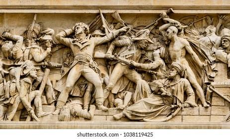 Sculptures on the Arc de Triomphe (Triumphal Arch), one of the most famous monuments in Paris