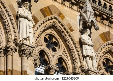 Sculptures on the exterior of the historic Northampton Guildhall in the town of Northampton, UK.