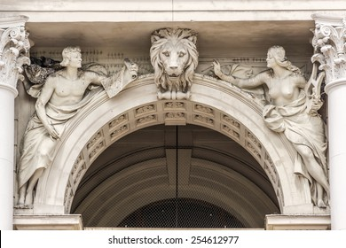 Sculptures on facade of Lviv State Academic Opera and Ballet Theatre. Theatre was built in classical tradition of Renaissance and Baroque architecture (Viennese neo-Renaissance style). Ukraine.